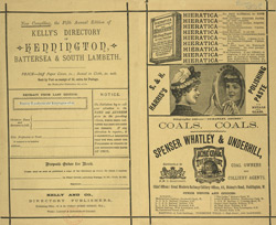 Advert for Kelly's Directory of Kennington, Battersea and South Lambeth